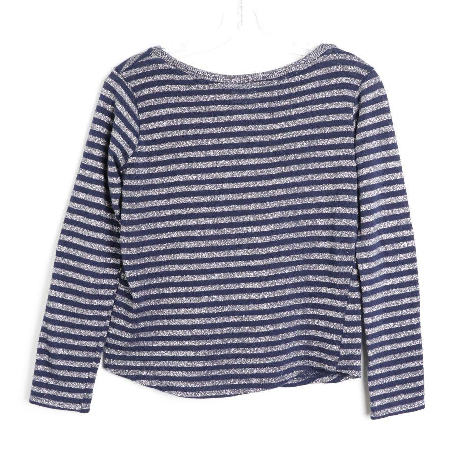 Zara striped knit metallic sparkly blue top S small