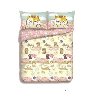 黃阿瑪 4件套 侍寢床品套裝 780針純棉印花 床笠+枕袋+被袋 (5呎 加大 Queen)
