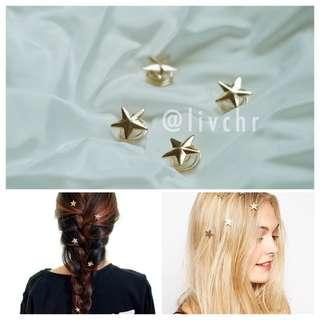 READY STOCK Star spiral hair clips (4pcs)