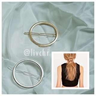 READY STOCK Round Alloy silver Hair Clips
