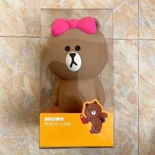 🚚 【溫馨貓小舖】 LINE FRIENDS 蝴蝶結熊大立體 造型 筆袋 鉛筆盒 收納袋 收納包 化妝包 (附盒子)