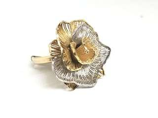 Made in Italy!! 3D Flower Ring in Silver 925 (2 Tone)