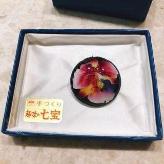 日本 七寶燒胸針一枚