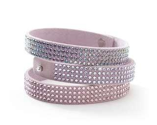 Suede and Swarovski Crystal wrap bracelet in lilac SoPretty