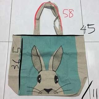 Dreamy blue bunny rabbit Canvas Tote Bag