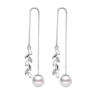 Anting Dangling Mutiara Silver dengan motif Daun Hollow dan Crystal Zirconia Cantik Murah Elegan
