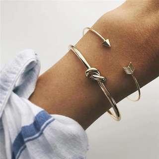 2 PCS Cuff Gold Bangle Bracelet Arrow and Knotted Shape