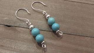 Handmade Turquoise and 925 silver dangle earrings