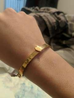 Fossil leather strap gold heart bracelet