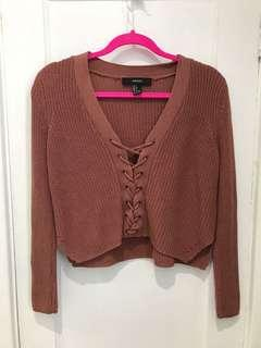 Pink lace up cropped sweater