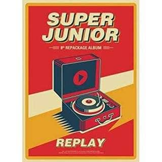 NEW SUPER JUNIOR [REPLAY] 8th Repackage Album CD+POSTER+Photobook+Card+Tracking Number K-POP SEALED