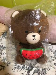 brown bear with watermelon plush toy