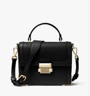 💯 Authentic with receipt Michael Kors Jayne small pebbled leather trunk bag black crossbody bag