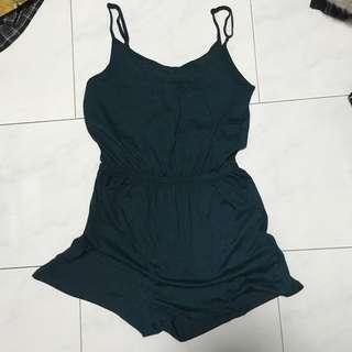 Dark Green Basic Romper