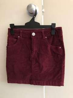 Burgundy corduroy glassons skirt