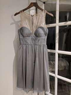 Sequined Chest Grey Cocktail Dress size 6