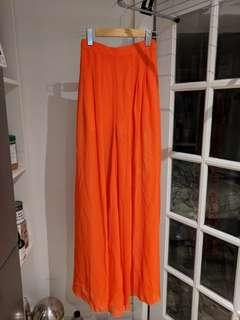 Orange Semi-Sheer Wide-Leg Pants with Shorts