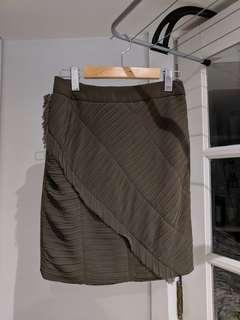 Olive Silk-style Textured Mini Skirt size small