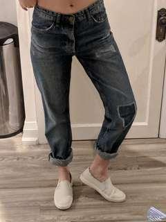 H&M Boyfriend Fit Button Fly Jeans size 4