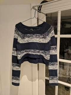 Navy and White Crop Knit Sweater Size S