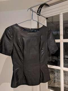 Faux Leather T Shirt Top size S/M