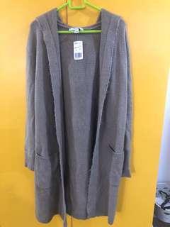 Forever21 long cardigan in taupe medium