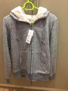 Uniqlo Pile Lined Sweater Gray Medium