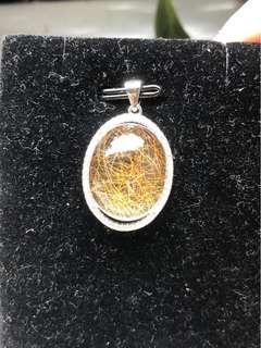 🚚 「守岑典藏」高清天然鈦金晶。925純銀項鍊墜子