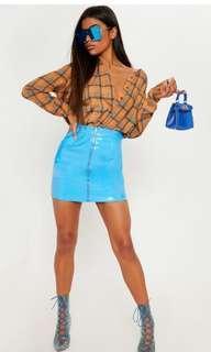 Prettylittlething vinyl blue skirt