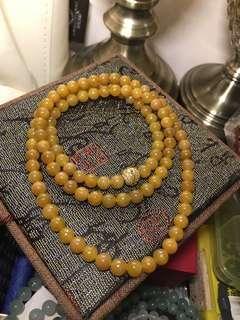 天然A貨黃翡珠鏈