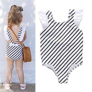 🚚 ✔️STOCK - BOW RIBBON CLASSIC STRIPE BABY TODDLER GIRLS KIDS ONE PIECE ROMPER SWIMSUIT CHILDREN CASUAL SWIMWEAR CLOTHING