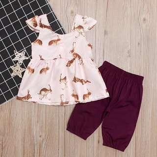 🚚 ✔️STOCK - 2pc SILKY PINK RABBIT BLOUSE TOP & MAROON BROWN PANTS SET NEWBORN BABY TODDLER GIRLS KIDS CHILDREN CASUAL CLOTHING
