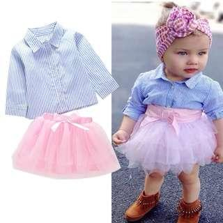 🚚 ✔️STOCK - 2pc PIN STRIPED BLUE SHIRT & PINK TULLE TUTU SKIRT SET NEWBORN BABY TODDLER GIRLS CASUAL KIDS CHILDREN CLOTHING
