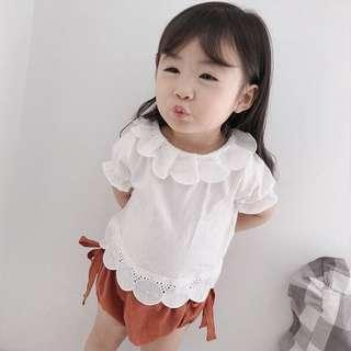 🚚 ✔️STOCK - 2pc SCALLOP COLLAR WHITE BLOUSE TOP & ORANGE BROWN BOW TIED BLOOMER SHORTS SET NEWBORN BABY TODDLER GIRLS CASUAL KIDS CHILDREN CLOTHING