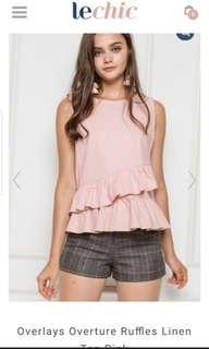 LeChic Overlay Overturn Ruffles Linen Top Pink