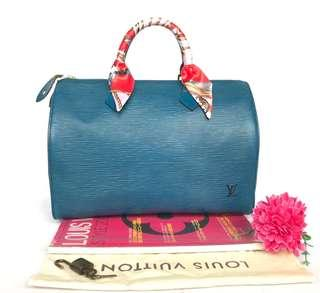 Authentic Louis Vuitton Epi leather blue speedy 30 handbag