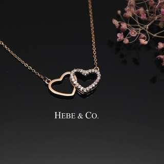 Hebe & Co. - 18k Rose Gold plated Heart-shaped interlocking pendant necklace (Normal price: RM69.00)