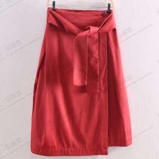 Initial 棗紅色及膝裙
