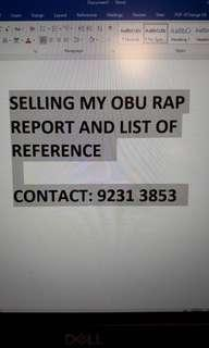 OBU RAP REPORT AND LIST OF REFERENCES