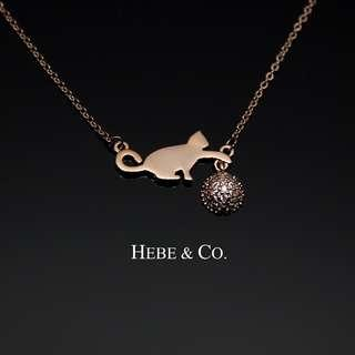 Hebe & Co. - 18k Rose Gold Kitten and Yarn pendant necklace (RRP: RM69)