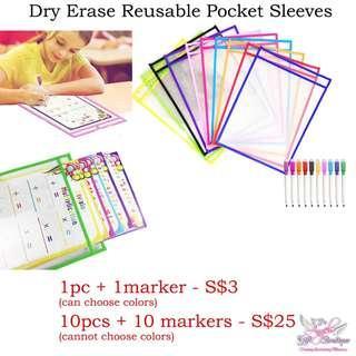 Dry Erase Reusable Pocket Sleeves