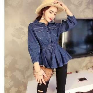 2019秋季新款韓版時尚氣質顯瘦百褶收腰單排扣方領牛仔 女装上衣