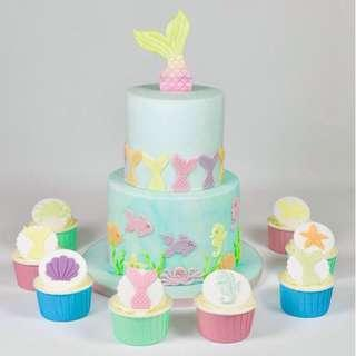 Ocean Theme Cake and Cupcakes