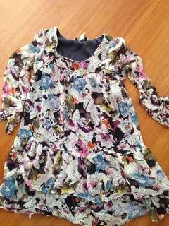 Floral flower printed mini dress