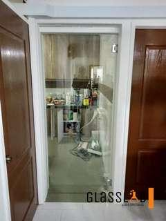 Clear Tempered Glass Swing Door