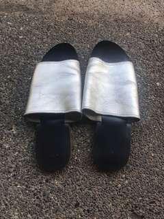 Silver Genuine Leather Slides