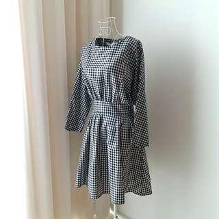 Vintage Gingham Checkered Ribbon Back Dress