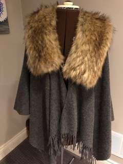 Shawl with Faux Fur Collar