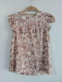 Jaspal pink floral sleeveless ruffle blouse