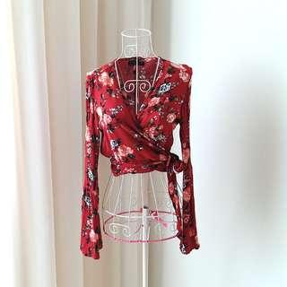 Cotton On Floral Red Wrap Top with Bell/ Trumpet Sleeves